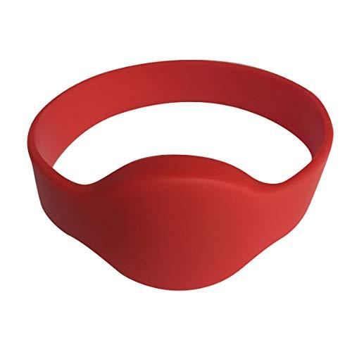 Jieewen 125KHz LF TK4100 Silikon RFID Armband wasserdicht Handgelenk für Konzert-Tickets, SPA Mitglied Management (5 Stück), rot, 5