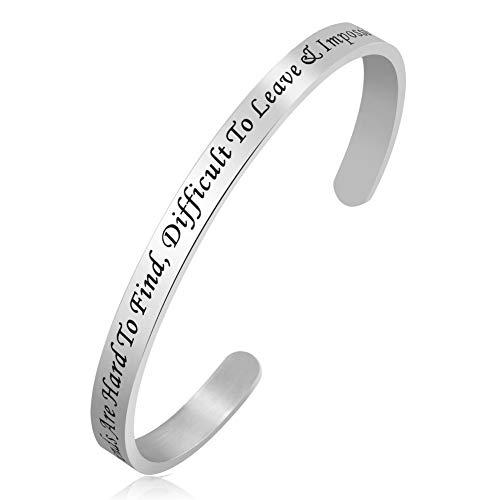 PoeticCharms Ermutigung Inspirational Zitate Manschette Armbänder Bangles Geschenke für Frauen Junge Freunde Schwestern Gravur