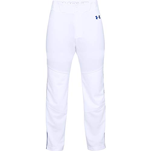 Under Armour Men's Utility Relaxed Piped Baseball Pants , White (101)/Royal Blue , Medium