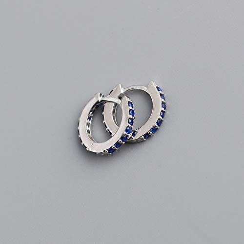 TGHYB 925 Sterling Silver Hoop Earrings,Silver Circle Inlay Dark Blue Zirconia Fashion Punk 925 Sterling Silver Ring Hinge Earring Charm Hypoallergenic Jewelly Gift For Men Lady Girlfriend