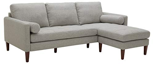 """Amazon Brand – Rivet Aiden Mid-Century Sectional with Tapered Wood Legs, 86""""W, Light Grey"""