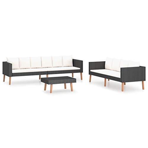 vidaXL Set de Muebles de Jardín 3 Piezas y Cojines Mobiliario Exterior Hogar Cocina Terraza Mesa Silla Asiento Suave Respaldo Ratán Sintético Negro