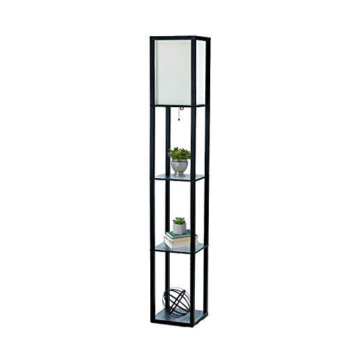 cheap Simple Design Home LF1014-BLK Organizer Etere Shelf Linen Umbrella Storage Floor Lamp, Black