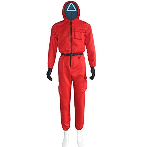 Traje de salto rojo con capucha Halloween Cosplay disfraz de ladrn traje de TV Show Fancy Dress