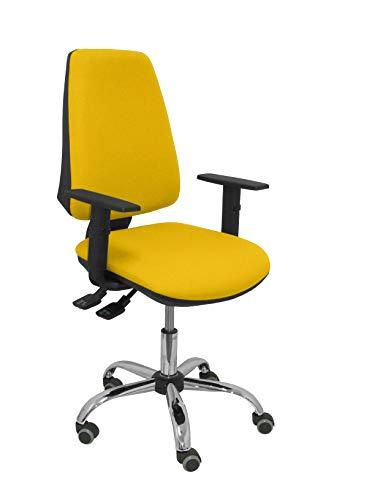 PIQUERAS Y CRESPO model elken bureaustoel ergonomische bureaustoel met synchroonmechanisme in hoogte verstelbaar - zitting en rugleuning met stof bespannen geel - verstelbare armleuningen - traagschuim - INTENSIVO 24 uur