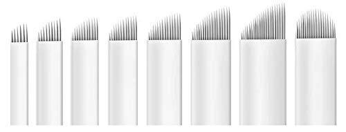 NAALDEN MICROBLADING 18 SLOPED BLADE STARINKMAKEUP x 10 Units - Wenkbrauw kleur, Permanente make-up, Tattoo messen. Gemaakt VS.