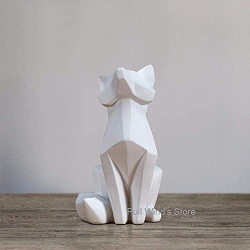 LGR Estatuas Figuras Esculturas Arte Abstracto Creativo Resina Adornos de Zorro Estilo de Origami geométrico Zorro Animal Decoración del hogar, Zorro pequeño