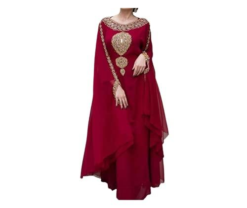 ADIBA CREATION Sale New Moroccan Dubai Kaftans Farasha Abaya Caftan Long Gown Eid Ramada Dress (Medium, Maroon)