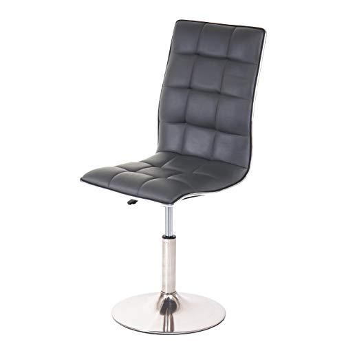 Mendler Esszimmerstuhl HWC-C41, Stuhl Küchenstuhl, höhenverstellbar drehbar, Fuß gebürstet Kunstleder - grau