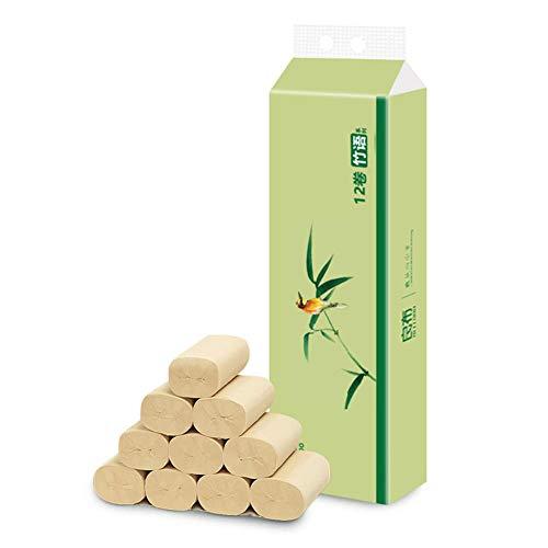 Badetuch Toilettenpapier Toilettenpapier Bambus-weiches Bambus-Toilettenpapier sicher biologisch abbaubar septisch-sicher essentiell kernlos- Toilettenpapier parfümfrei Badgewebe 4-lagig - (12 Rollen)