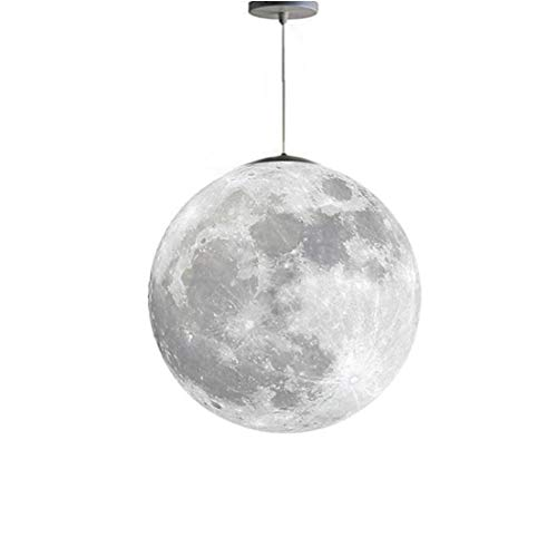 Moon Pendant Lamp 3D Ceiling Light Printing Bulbs Planet Chandeliers for Kids Bedroom Office