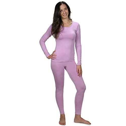 Women's Ultra Soft Thermal Underwear Long Johns Set with Fleece Lined (Lavender Small)