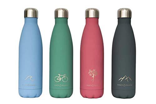 Fancy Isolierflasche aus Edelstahl 500ml - Verschiedene Designs (Rosa)