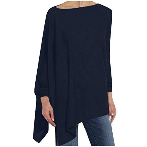 Dasongff Dames sweatshirt onregelmatig shirt met lange mouwen casual losse blouse shirts longshirt trui effen licht tops bovenstuk elegante trui rolkraag 4XL marineblauw