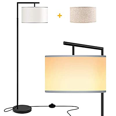 ROTTOGOON Floor Lamp for Living Room, Montage Modern Floor Lamp with 2 Lamp Shades & 9W LED Bulb, Montage Tall Pole Reading Standing Light for Bedroom, Study Room - Black