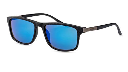 GIN TONIC Herren Sonnenbrille/Sportliche Sonnenbrille in angesagter Holzoptik/Blau verspiegelt F2507620