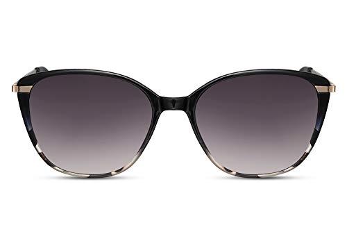Cheapass Gafas de Sol Tamaño Normal Mujeres Gafas de sol de Mariposa Negras Marco y Gris Leopardo Interior Marco con Gradual Lentes Protección UV400