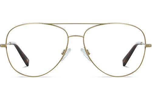 Brille mit wählbare Sehstärke (inkl. Zylinder)   Maverick   Piloten Brille aus Titan   Gold   Charlie Temple