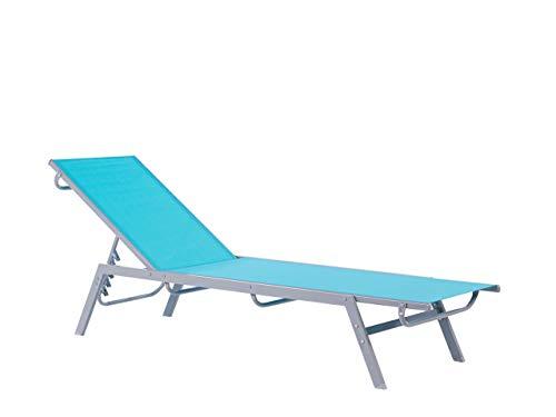 Contemporary Garden Sun Lounger Steel Textile Reclining Blue Silver Noli