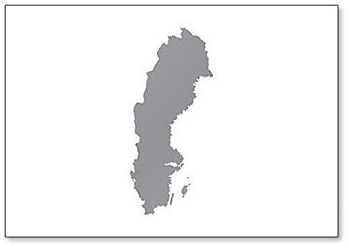 Imán para nevera con diseño de mapa de Suecia (gris)