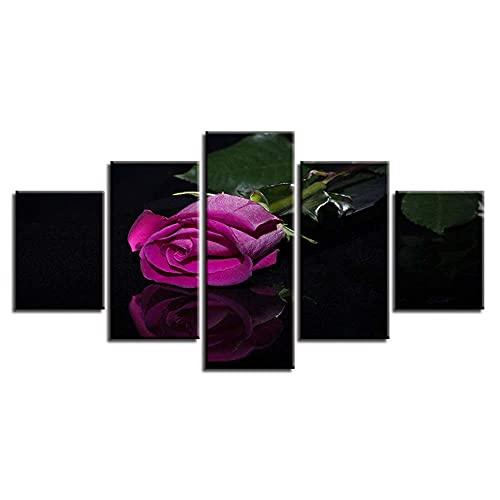 GHYTR Imagen sobre Lienzo Cuadros Abstractos Modernos XXL Poster 5 Piezas Flor Rosa Morada Arte De Pared Imágenes Modulares Sala De Estar Decoración para El Hogar 150X80Cm