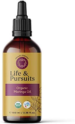 Life Pursuits Moringa Oil USDA Organic Skin and Hair Care Cold Pressed Oil for Men and Women product image