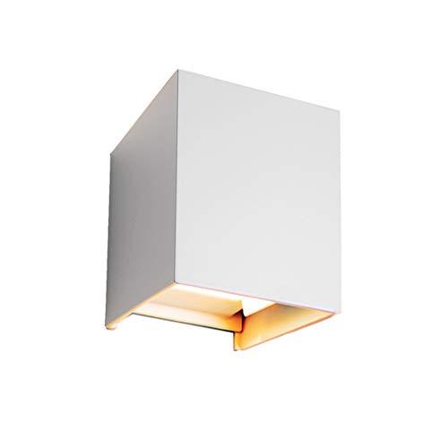12W dimmbare Wandleuchte Motivtech 2-LED Aluminium Wasserdicht Kubisch Warmweiß Wandlampe Aussen Und Inner Modern Klassisch Verstellbarem Lichtwinkel Design (Weiß)