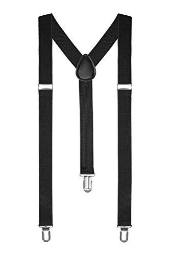 Boolavard Pantalons Bretelles Y Homme Femmes - Noir, Blanc, Rouge, Bleu, etc. (Noir),120 x 4 x 0,4 cm