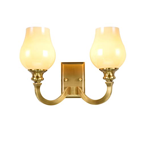 Moderne Et Simple Cuivre Country Garden Applique Lampe De Chevet Applique Murale Salon Miroir Avant Lampe E14 (Couleur : Double head)