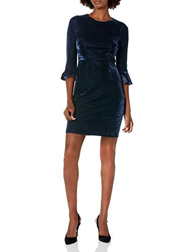 Donna Morgan Women's Jean 3/4 Bell Sleeve Velvet Sheath Dress, Navy, 14