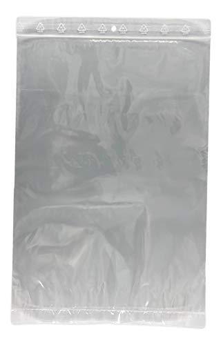 100 sachets à fermeture zip format 230 x 320 mm 23 x 32 cm pochette zip qualité alimentaire aux normes CEE 50 microns sachet protection de document A4 sac emballage recyclable avec trou de suspension
