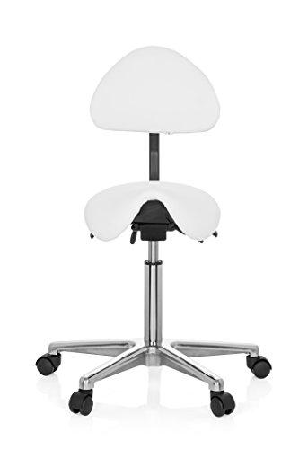 hjh OFFICE 608900 taburete TOP WORK 20 piel sintética blanco forma sillín silla de trabajo
