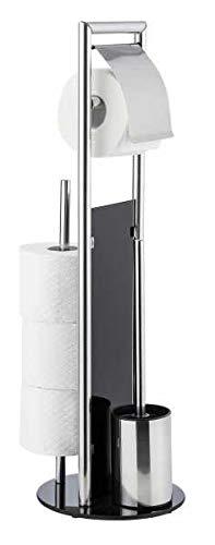 WENKO WC Garnitur Set Ravina, stehend mit Toilettenpapierhalter, Toilettenbürste, Ersatzrollenhalter und Edelstahl, 18 x 19 x 69 cm