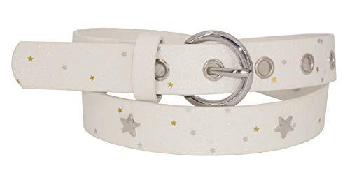 EANAGO Glitzer-Kindergürtel 'Superstar weiß' für Mädchen (Kindergarten- und Grundschulkinder mit Hüftumfang 57-72 cm), Gürtelmaß 65 cm, mit Glitzer …