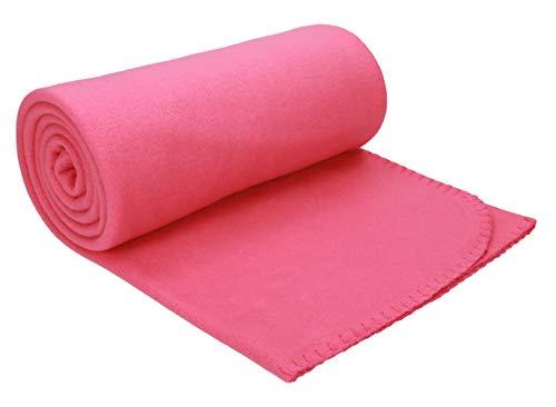 Betz Luxus Fleecedecke Kuscheldecke Wohndecke Farbe Fuchsia pink Größe 130x170 cm Qualität: 220 g/m²