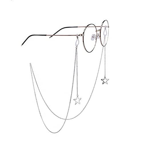 YFQHDD Hollow Star Gafas de Sol Lectura Gafas Cadena Tienda de Gafas Titular de la Tarjeta Correa Cuerda Cuerda Moda Mujeres Colgante Cadenas de anteojos (Color : B)