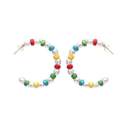 Pendientes de perlas de madera de color en forma de C de moda ZA pendientes geométricos de estilo callejero simples y versátiles pendientes grandes-color mezclado-1394