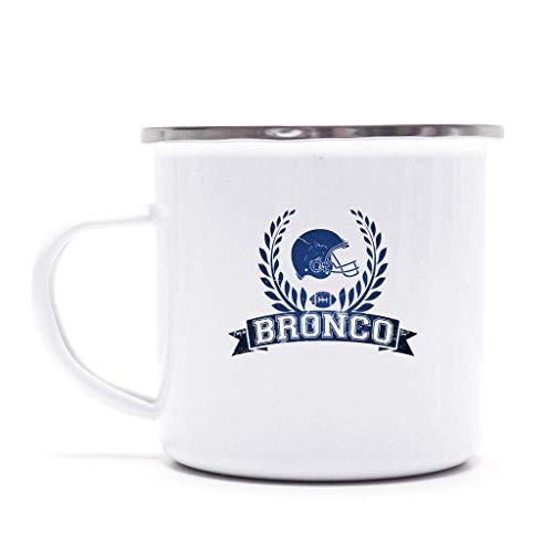 Broncos Any Given Sunday Orange Denver Football Super Bowl Emaille-Tasse Kaffeetasse mit Farbe Metall-Becher, Farbe:Weiß (Tasse), Größe:onesize