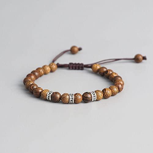 Mano Trenzado Lucky Knots Pulsera Tibetano Budista Pulsera Natural 6Mm Beads De Madera Tallada Pulsera Hecha A Mano