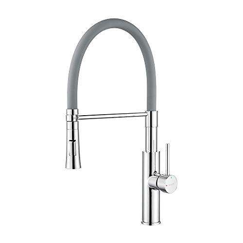 Ibergrif M22115-9, Rubinetto miscelatore da cucina professionale con doccetta a mano e tubo flessibile, rubinetto per lavello monocomando 3/8', cromato/grigio