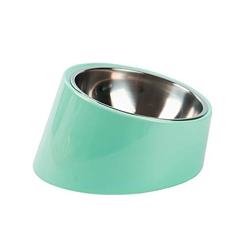 Pet bowl Hundenapf Futternapf Neigung Schüssel mit Nackenschutz Edelstahl Hundenapf (Color : Green)