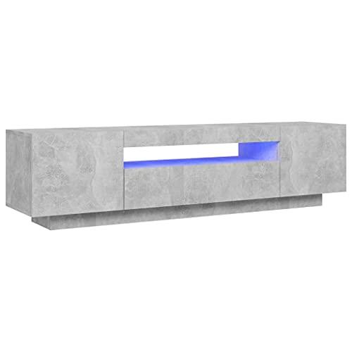 vidaXL TV Schrank mit LED-Leuchten Lowboard Sideboard Fernsehschrank Fernsehtisch TV Möbel Tisch Board HiFi-Schrank Betongrau 160x35x40cm