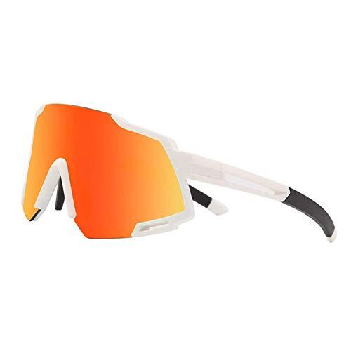 LYLTJ68 Gafas De Ciclismo Polarizadas Deportes Al Aire Libre Ciclismo Gafas De Conducción A Prueba De Viento Y Protección para Los Ojos,Whitered