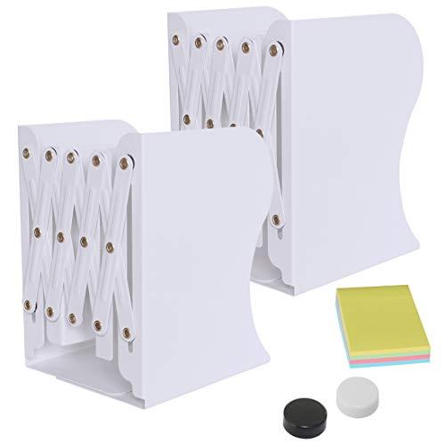DARUITE Sujetalibros, Sujeta Libros Telescópicos de Metal Organizador de Escritorio Extensible Apoya Libros para Oficina, Escuelas, Decoración Del Hogar, Blanco x 2