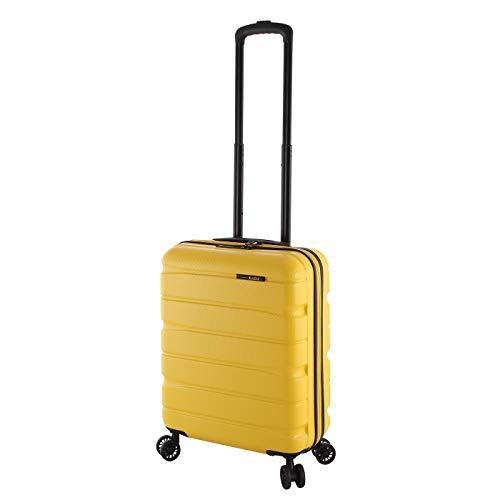 Rada Kleiner Reisekoffer ABS/13 55cm 30 Liter, Trolley Hatschale Ultra Stabil mit 4 360 Grad Doppelrollen, Hardcase Koffer, TSA-Zahlenschloss, Unisex Damen und Herren (gelb)