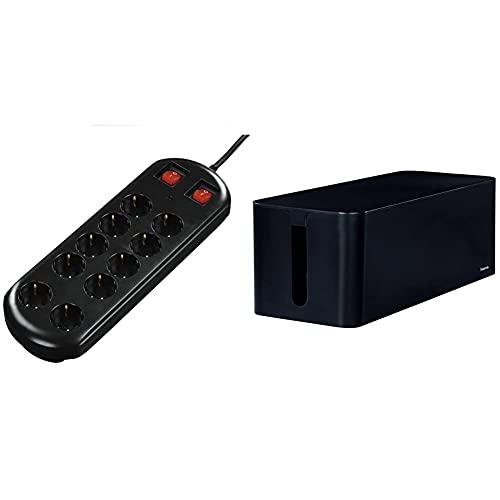 Hama 00137253 10AC Outlet(s) 230V 2m Regleta (10 Salidas AC, 16 A, 3500 W, 4500 A, 2 m, Negro) + 020664 Organizador de Cables, Negro