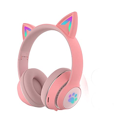 SFQRYP Auricular Bluetooth Que Brilla intensamente para el oído Lindo DIRIGIÓ Auriculares Bluetooth estéreo de Auriculares estéreo (Color : Red)