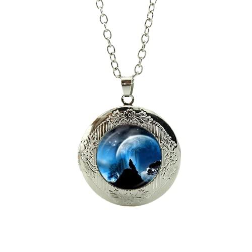 Nuevo collar caliente de la bóveda de cristal de la manera de la venta collar del lobo ártico animales geek hombres mujeres regalos lobos joyería