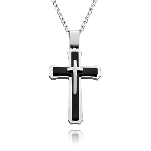 blackbox Jewelry Cross Necklace for Men & Women with Large Pendant and 24 Inch Curb Chain