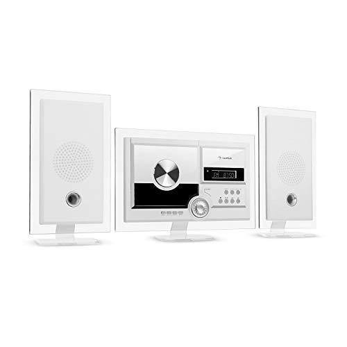 auna Stereo Sonic DAB+ Stereoanlage, Wandmontage, DAB+/UKW-Radiotuner, automatischer CD-Player, USB-Port für MP3-Dateien, Bluetooth-Funktion, AUX-Eingang, LCD-Display, Schlaf-Funktion, antikweiß